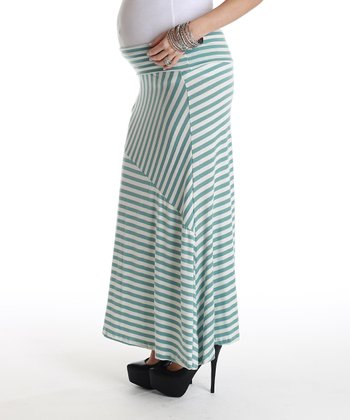 Baby Blue & White Stripe Maternity Maxi Skirt