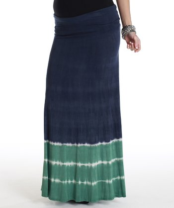 Navy Blue & Green Tie-Dye Maternity Maxi Skirt