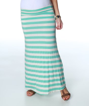 Aqua & Cream Stripe Maternity Maxi Skirt - Women