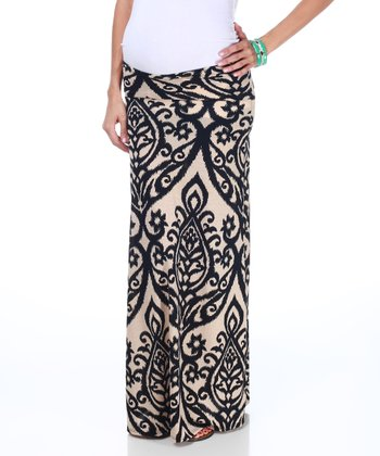Black & Cream Maternity Maxi Skirt