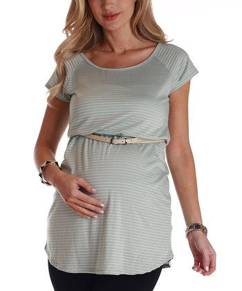 Mint Green & Beige Stripe Belted Maternity Tunic