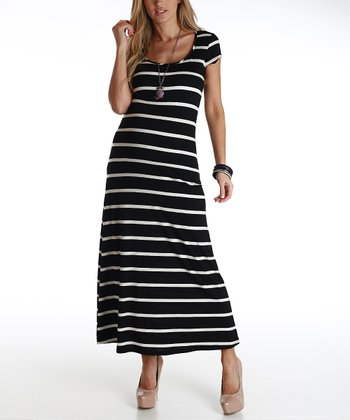 Black & White Stripe Maternity Maxi Dress
