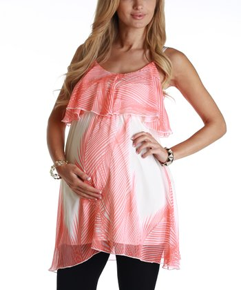 Orange & Cream Paradise Maternity Tunic - Women