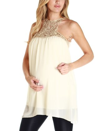 Cream & Gold Crocheted Maternity Top