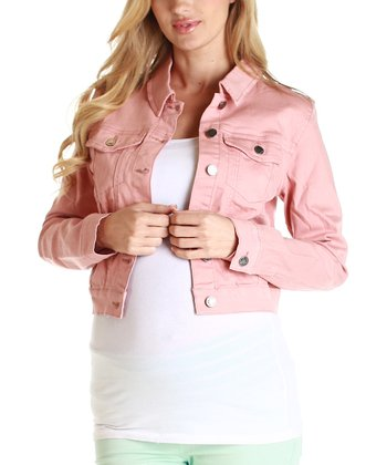 Pink Denim Maternity Cropped Jacket