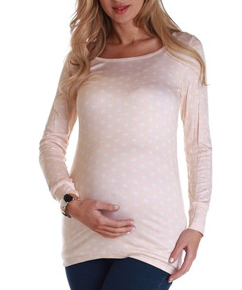 Pink & White Polka Dot Maternity Long-Sleeve Top