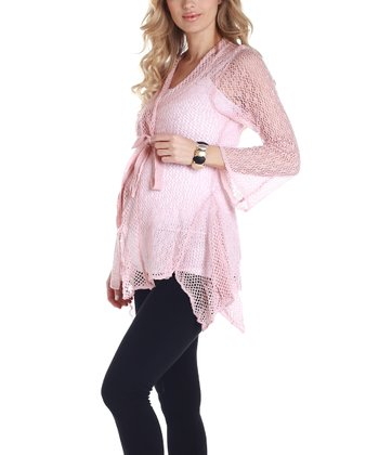 PinkBlush Pink Sheer Sash Maternity Cardigan