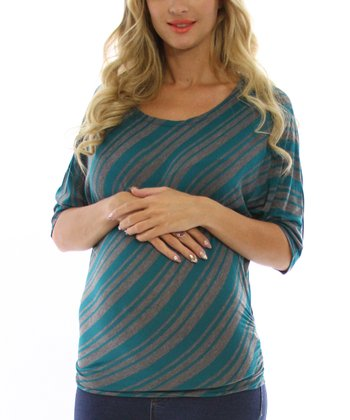 Teal & Gray Stripe Maternity Three-Quarter Sleeve Top