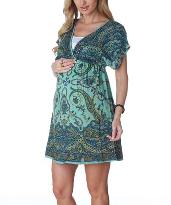 Aqua Paisley Print Maternity Dress