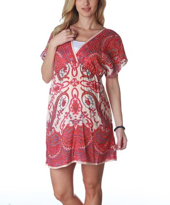Beige Paisley Maternity Dress - Women