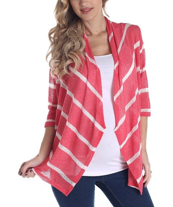 Coral & White Stripe Knit Maternity Open Cardigan