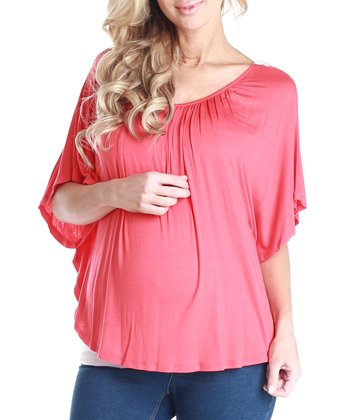 Coral Maternity Cape-Sleeve Top