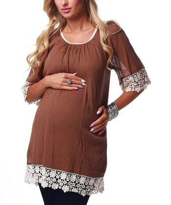 Mocha Lace Trim Maternity Tunic