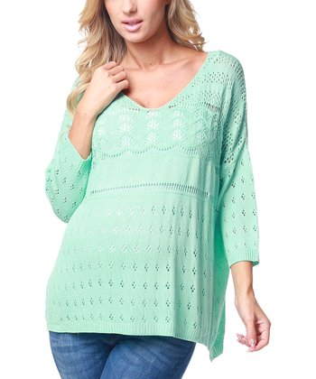 Mint Green Loose Knit Maternity Sweater