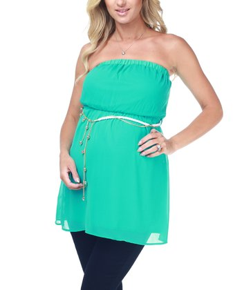 Aqua Chiffon Maternity Strapless Top - Women