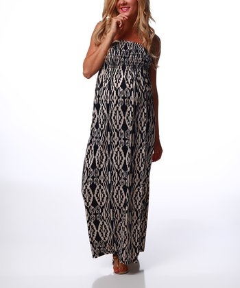 Black & Taupe Moroccan Maternity Maxi Dress
