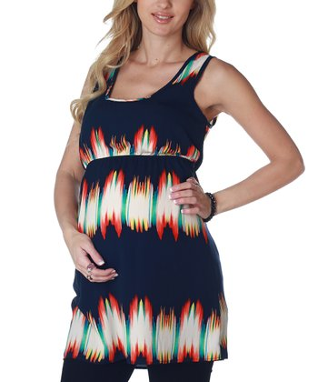 Navy & Blue Tie-Dye Open Back Maternity Tunic