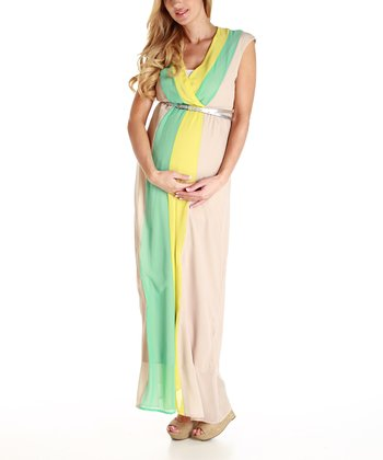Beige Maternity Maxi Dress - Women