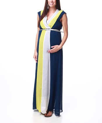 Navy Blue Maternity Belted Surplice Maxi Dress