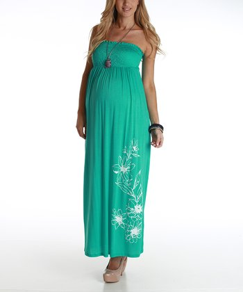 Mint Floral Maternity Strapless Maxi Dress