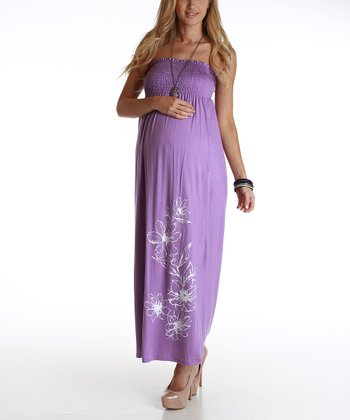 Purple Floral Maternity Strapless Maxi Dress - Women