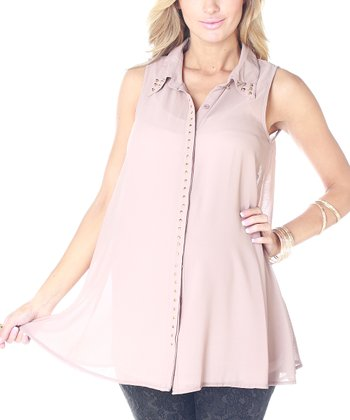 Beige Studded Maternity Sleeveless Tunic