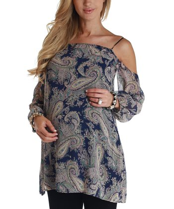 Navy Blue Paisley Maternity Blouse