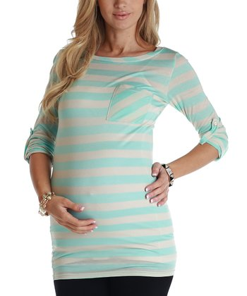 Baby Blue & Beige Stripe Maternity Three-Quarter Sleeve Top