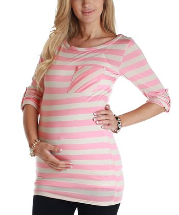 Pink & Beige Stripe Maternity Three-Quarter Sleeve Top