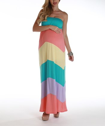PinkBlush Pastel Chevron Maternity Strapless Maxi Dress - Women