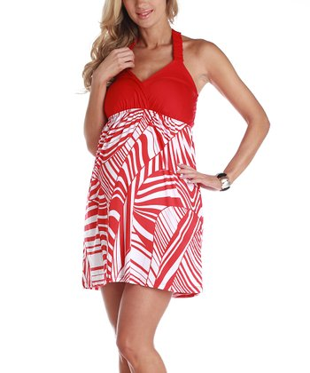 Red & White Maternity Halter Dress - Women