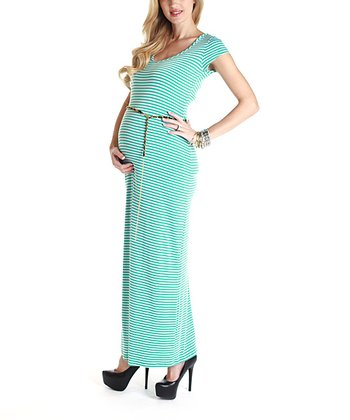 Aqua & White Stripe Belted Maternity Maxi Dress
