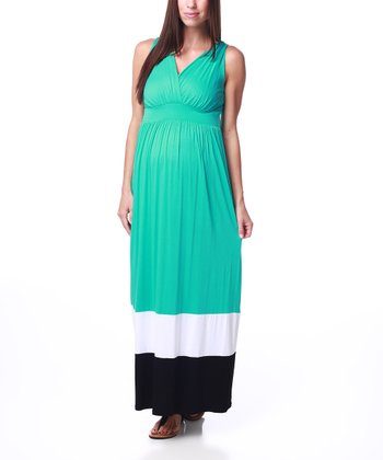 Aqua & Black Color Block Maternity Maxi Dress - Women