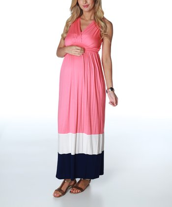 Pink & Navy Color Block Maternity Maxi Dress - Women