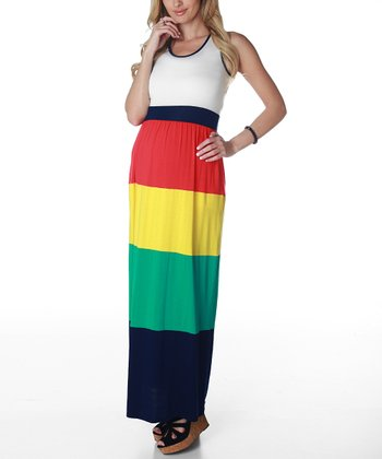 Red & Yellow Color Block Maternity Maxi Dress