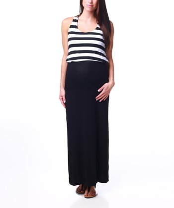 Black Stripe Maternity Maxi Dress - Women