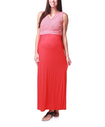 Red Stripe Maternity Maxi Dress