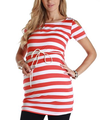 Red & White Stripe Maternity Belted Tunic