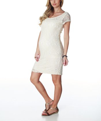 Ivory Lace Maternity Dress - Women