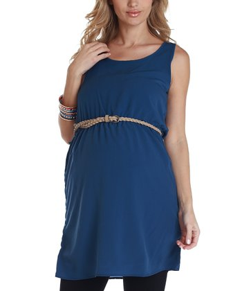 Navy Blue Belted Maternity Tunic