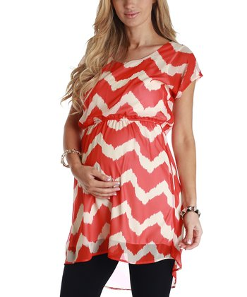 Coral & Cream Chevron Maternity Tunic