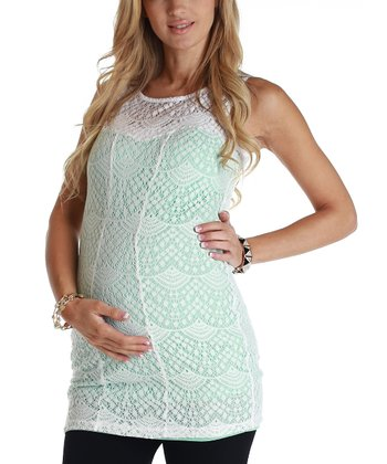 Mint Green & White Lace Maternity Tank
