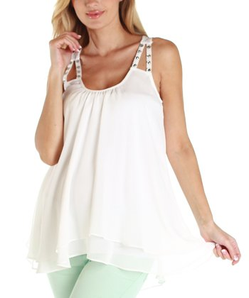 White Chiffon Maternity Hi-Low Tank - Women