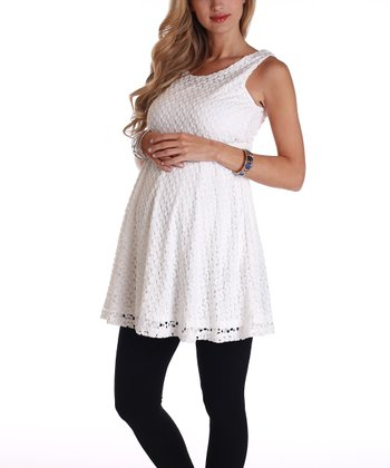 PinkBlush White Lace Maternity Tunic