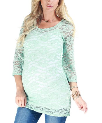 Pink Blush Mint Lace Maternity Top