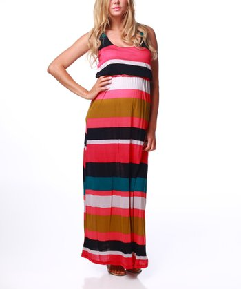 Pink Stripe Crocheted Maternity Maxi Dress - Women