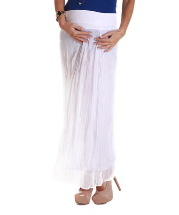 PinkBlush White Crinkled Chiffon Maternity Maxi Skirt