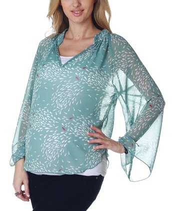 Mint Green Fish Maternity Top