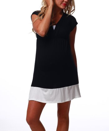 Black & White Color Block Maternity & Nursing Surplice Dress