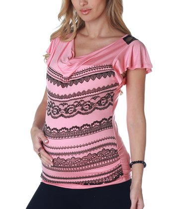 PinkBlush Pink Lace Back Maternity Top